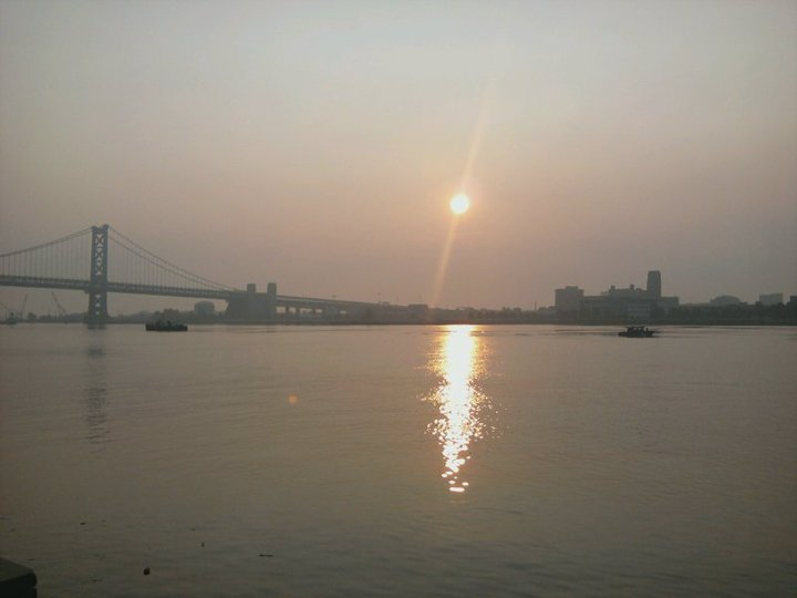 View across Delaware River from Penn's Landing during early morning run